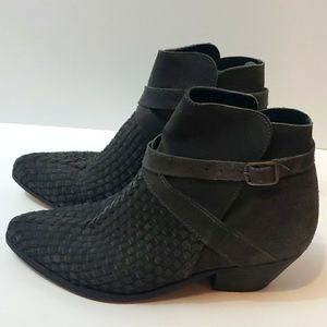 FREE PEOPLE Venture Woven Suede Ankle Boots